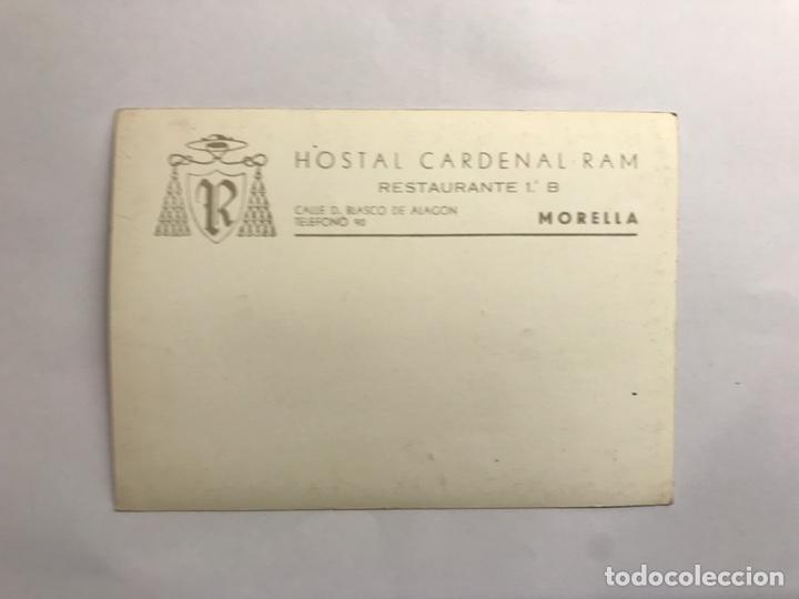 Postales: MORELLA (Castellón) Postal Publicitaria. Hostal Cardenal RAM. (h.1950?) - Foto 2 - 142825386