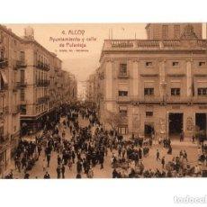 Postales: ALCOY.(ALICANTE).- AYUNTAMIENTO Y CALLE DE POLAVIEJA.. Lote 146872118