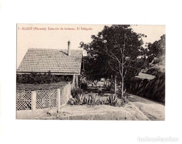 BUSOT.(ALICANTE).- ESTACIÓN DE INVIERNO. EL TELÉGRAFO (Postales - España - Comunidad Valenciana Antigua (hasta 1939))