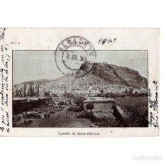 Postales: ALICANTE.- CASTILLO DE SANTA BÁRBARA. CON VIÑETAS CORREOS. Lote 147584850