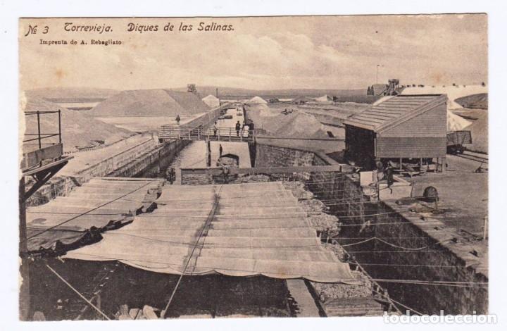 TORREVIEJA ALICANTE. DIQUES DE LAS SALINAS. IMP. REBAGLIATO. ED.CASA REYES Nº 3 (Postales - España - Comunidad Valenciana Antigua (hasta 1939))