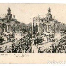 Postales: VALENCIA LE MARCHE AUX ORANGES POSTAL ESTEREOSCOPICA. MERCADO . SIN CIRCULAR. Lote 155659278