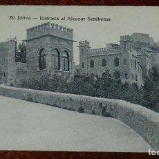 Cartoline: JATIVA (VALENCIA, ENTRADA AL ALCAZAR SETABENSE, 20 ROISIN, SIN CIRCULAR. Lote 156077842