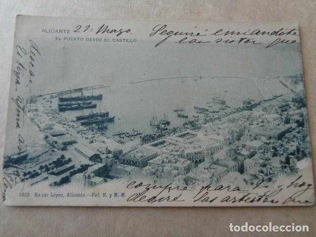 ALICANTE. PUERTO DESDE EL CASTILLO. 1902. ESCRITA Y SELLADA (Postales - España - Comunidad Valenciana Antigua (hasta 1939))