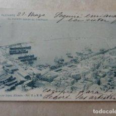 Postales: ALICANTE. PUERTO DESDE EL CASTILLO. 1902. ESCRITA Y SELLADA. Lote 156571082