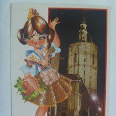 Postales: POSTAL DE VALENCIA : EL MIGUELETE Y GRACIOSO DIBUJO DE CHICA VALENCIANA. AÑOS 60. Lote 158316598