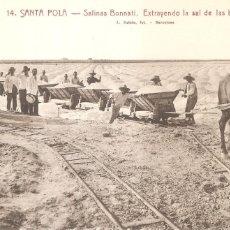 Postales: SANTA POLA SALINAS BONNATI EXTRAYENDO LA SAL DE LAS BALSAS. Lote 158587178