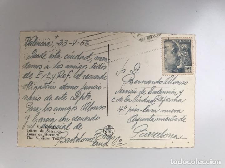 Postales: VALENCIA. Postal No.249, Torres de Serranos Edita: JDP (a.1956) - Foto 2 - 160594184