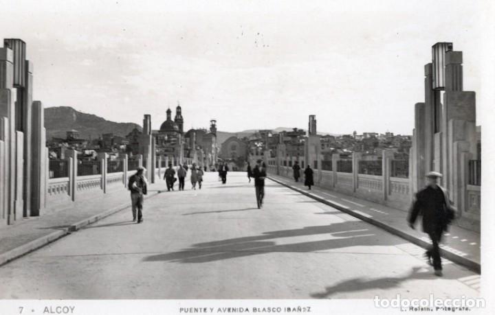 ALCOY. 7 PUENTE Y AVENIDA BLASCO IBAÑEZ. ROISIN (Postales - España - Comunidad Valenciana Antigua (hasta 1939))