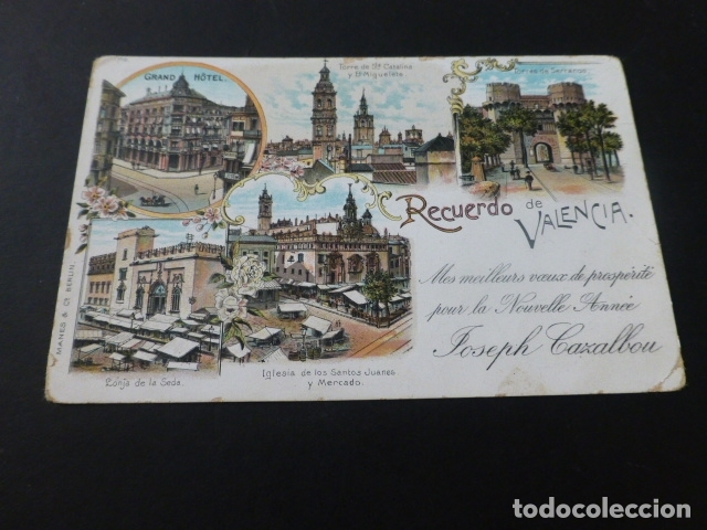 VALENCIA RECUERDO DE VALENCIA POSTAL TIPO GRUSS CROMOLITOGRAFICA JOSEPH CAZALBOU (Postales - España - Comunidad Valenciana Antigua (hasta 1939))