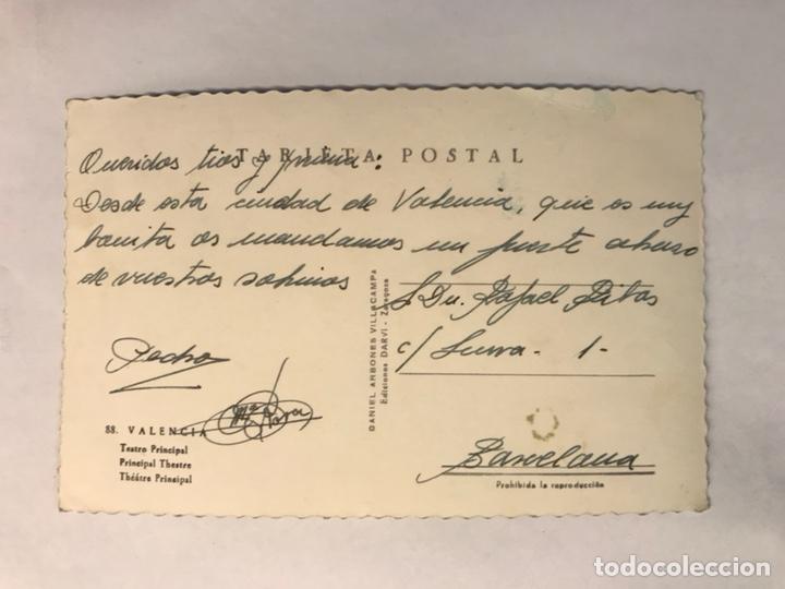 Postales: VALENCIA. Postal Fotográfica No.88,Teatro Principal. Edita: Ed. DARVI (h.1950?) ESCRITA - Foto 2 - 165494862