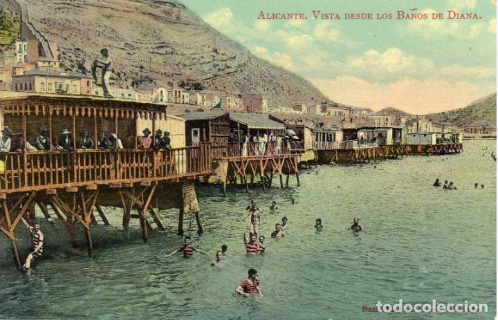 POSTAL COLOREADA BAÑOS DE DIANA, ALICANTE (Postales - España - Comunidad Valenciana Antigua (hasta 1939))