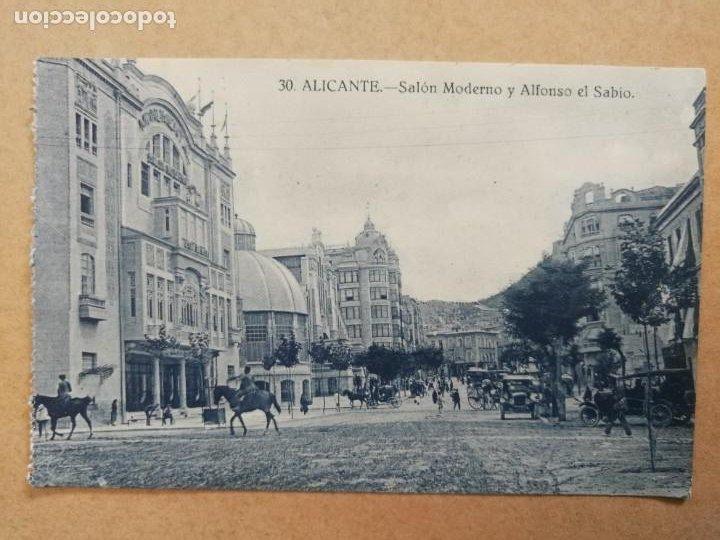 ANTIGUA POSTAL DE ALICANTE. SALÓN MODERNO Y ALFONSO EL SABIO. (Postales - España - Comunidad Valenciana Antigua (hasta 1939))