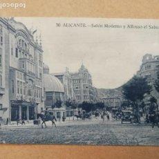 Postales: ANTIGUA POSTAL DE ALICANTE. SALÓN MODERNO Y ALFONSO EL SABIO.. Lote 169175092