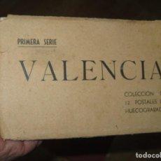 Postales: LIBRO ALBUM DE 12 POSTALES ANTIGUAS VALENCIA HUECOGRABADO 1º SERIE CALLES. Lote 170491438