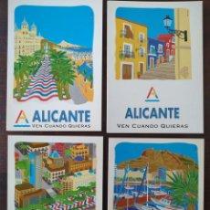 Cartes Postales: LOTE DE CUATRO TARJETAS POSTALES, CAMPAÑA PUBLICITARIA AYUNTAMIENTO DE ALICANTE. VEN CUANDO QUIERAS.. Lote 171438245