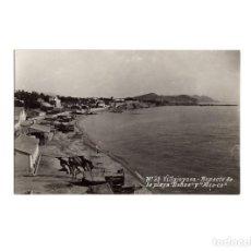 Postales: VILLAJOYOSA.(ALICANTE).- ASPECTO DE LA PLAYA. BAÑOS Y ALCO-CO.. Lote 171581753