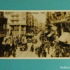 Postales: POSTAL REPRODUCCIÓN ACTUAL. CALLE SAN VICENTE. VALENCIA 1920. Lote 171639119
