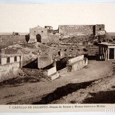 Postales: FOTO POSTAL DEL CASTILLO DE SAGUNTO (VALENCIA). PLAZA DE ARMAS Y MUSEO. FOT. ROISIN. SIN CIRCULAR. Lote 172455194