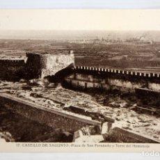Postales: FOTO POSTAL DEL CASTILLO DE SAGUNTO (VALENCIA). PLAZA SAN FERNANDO Y TORRE DEL HOMENAJE. FOT. ROISIN. Lote 172456013