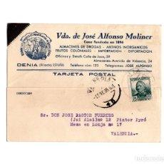 Postales: DENIA.(ALICANTE).- VDA. DE JOSÉ ALONSO MOLINER. ALMACENES DE DROGAS- ABONOS INORGANICOS. 1936.. Lote 174588003