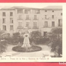 Postales: JATIVA. PLAZA DE LA SEO Y ESTATUA DE CALIXTO III, ED. ENRIQUE MZ BELLVER, FOT.BARBERA, S/C VER FOTOS. Lote 177425620