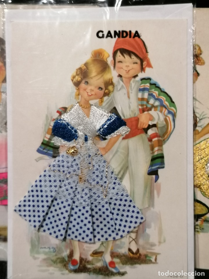 Postales: Antiguas postales valencianas de falleras con tela. Faldas con la tela y sin escritura. - Foto 4 - 177461092