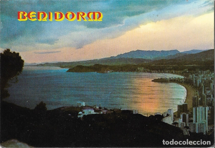 BENIDOR (ALICANTE) PUESTA DE SOL - FOTO RUEK Nº 851 - CIRCULADA (Postales - España - Comunidad Valenciana Moderna (desde 1940))