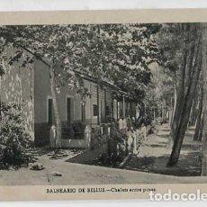 Postales: VALENCIA BALNEARIO DE BELLUS CHALETS ENTRE PINOS. ESCRITA. Lote 179332183