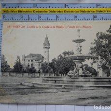 Postales: POSTAL DE VALENCIA. AÑOS 10 30. CASTILLO DE LA CONDESA DE RIPALDA Y FUENTE DE LA ALAMEDA. 59 TH. 592. Lote 180140230