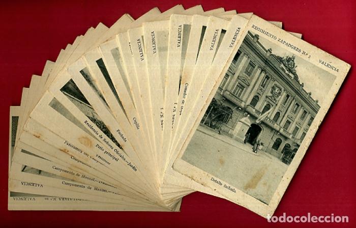 LOTE DE 34 POSTALES VALENCIA, REGIMIENTO MILITAR ZAPADORES Nº 3 , VER FOTOS, ORIGINALES (Postales - España - Comunidad Valenciana Antigua (hasta 1939))
