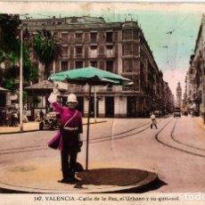 Postales: VALENCIA - CALLE DE LA PAZ, EL URBANO Y SU QUITASOL (NO. 147) MUY RARA, NUNCA VISTA EN TODOCOLECCION. Lote 182892906