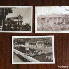 Postales: 3 POSTAL. PISCINA MUNICIPAL, HOTEL Y PUENTE SAN JORGE. ALCOY. ALICANTE.. Lote 183547147
