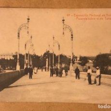 Postales: POSTAL EXPOSICIÓN NACIONAL EN VALENCIA PASARELA SOBRE EL RÍO TURIA NÚMERO 97. Lote 184062463