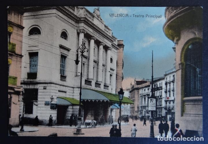 VALENCIA, TEATRO PRINCIPAL. ANTIGUA POSTAL COLOREADA SIN CIRCULAR (Postales - España - Comunidad Valenciana Antigua (hasta 1939))