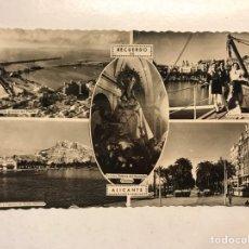 Postales: RECUERDO DE ALICANTE. POSTAL 4 VISTAS DE LA CIUDAD. EDITA: ED. ARRIBAS (H.1950?) ESCRITA. Lote 191930466