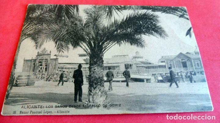 TARJETA POSTAL - ALICANTE Nº 1 LOA BAÑOS DESDE PASEO GOMIZ - ESCRITA 1906 CON SELLO - (Postales - España - Comunidad Valenciana Antigua (hasta 1939))