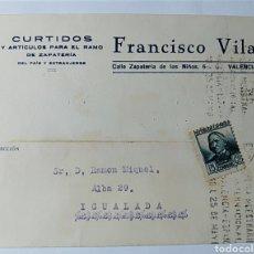 Postales: VALENCIA, TARJETA COMERCIAL, FRANCISCO VILA, CURTIDOS, ZAPATERÍA, REPÚBLICA ESPAÑOLA.. Lote 197324976