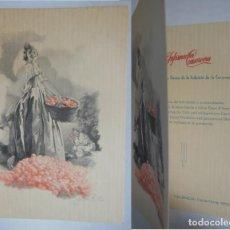 Postales: FALLERA Y NARANJAS - VALENCIA. BALLESTER ARTURO (FIRMA) 1955 12X17 CM DÍPTICO. Lote 204421593