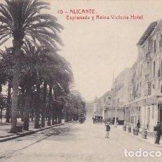 Postales: ALICANTE EXPLANADA REINA VICTORIA HOTEL. ED.THOMAS Nº 10. SIN CIRCULAR. Lote 205047285
