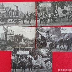 Postales: LOTE DE 5 POSTALES VALENCIA INAUGURACION BATALLA DE FLORES EXPOSICION REGIONAL 1909 ORIGINAL P903. Lote 205360981