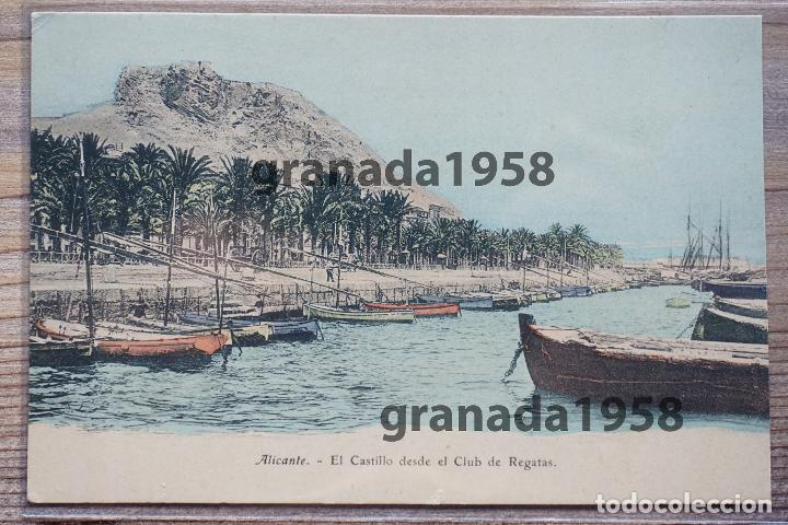 ALICANTE. EJG E.J.G. EL CASTILLO DESDE EL CLUB DE REGATAS. PARÍS. IRÚN (Postales - España - Comunidad Valenciana Antigua (hasta 1939))