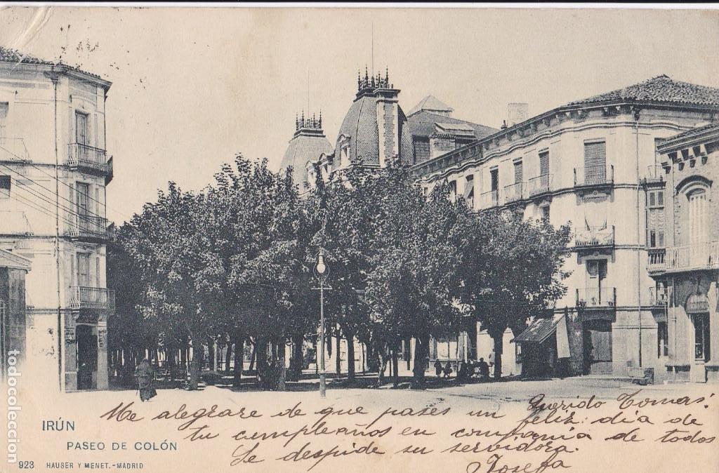 VALENCIA PASEO DE COLON. ED HAUSER Y MENET Nº 923. REVERSO SIN DIVIDIR. CIRCULADA (Postales - España - Comunidad Valenciana Antigua (hasta 1939))