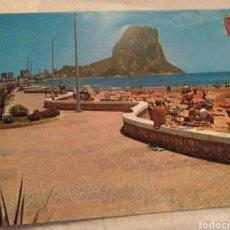 Postales: POSTAL DE ALICANTE 1975. CALPE PLAYA Y PEÑÓN DE IFACH. SIN Y. Lote 213920575