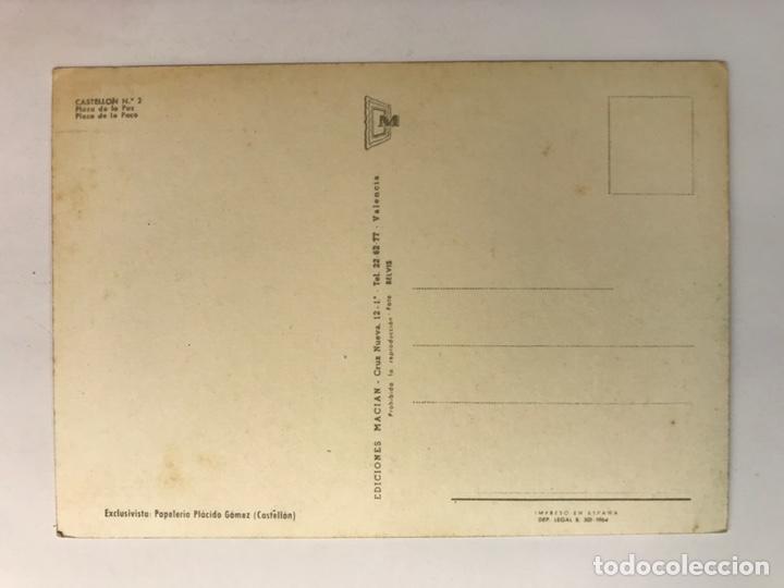 Postales: CASTELLÓN, Postal No.2, Plaza de La Paz. Animada, TRANVÍA. Edic., Macian (a.1964) S/C - Foto 2 - 222084988