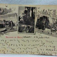Postales: ANTIGUA POSTAL RECUERDO DE ELCHE(ALICANTE).ANÑO 1901.DORSO SIN PARTIR.. Lote 223378346
