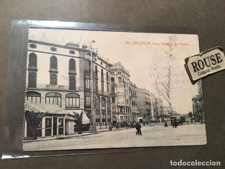 20.- VALENCIA , GRAO , AVENIDA DEL PUERTO CIRCULADA 1910 70 FOTOTIP. THOMAS - 14X9 CM. (Postales - España - Comunidad Valenciana Antigua (hasta 1939))