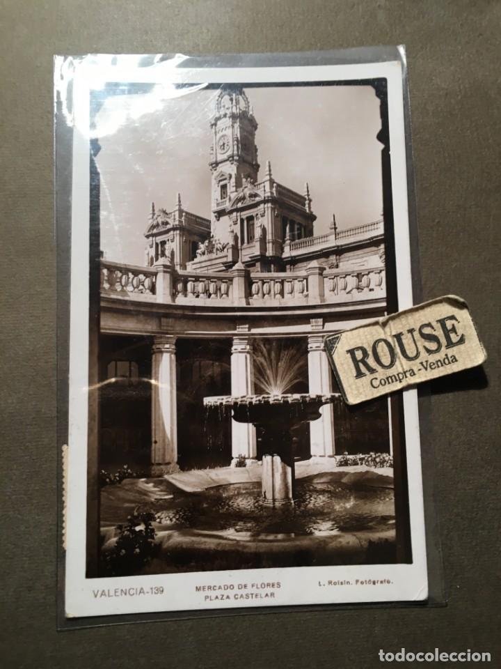 VALENCIA - 139 , MERCADO DE FLORES , PLAZA CASTELAR L. ROISIN FOT. 14X9 CM. CIRCULADA (Postales - España - Comunidad Valenciana Antigua (hasta 1939))