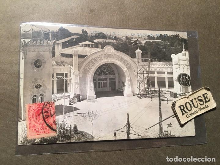 VALENCIA - POSTAL FOTOGRAFICA EXPOSICION DE VALENCIA 1910 - TEATRO-CIRCO ANDRES FABERT CIRCULADA (Postales - España - Comunidad Valenciana Antigua (hasta 1939))