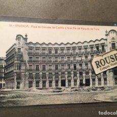 Postales: 35 VALENCIA - PLAZA DE CANOVAS DEL CASTILLO Y GRAN VIA DEL MARQUES DEL TURIA THOMAS 14X9 CM.. Lote 226617950